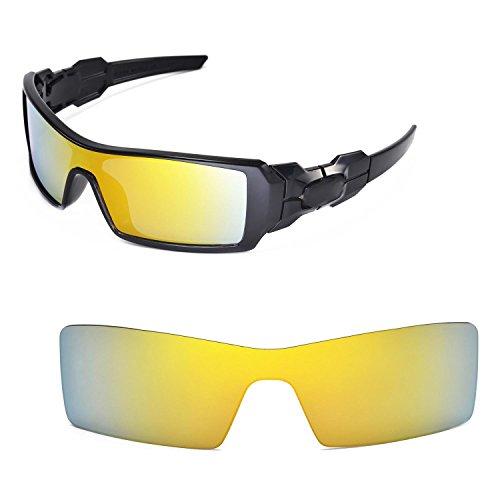 Walleva Ersatzgläser für Oakley Oil Rig Sonnenbrille - Mehrfache Optionen (24K Gold Mirror Coated - Polarisiert)