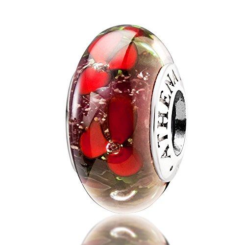 athenaie 925Argent Sterling Core Kits Fleurs Rouge perles charms pour bracelets et colliers européenne Red Flowers MNG26