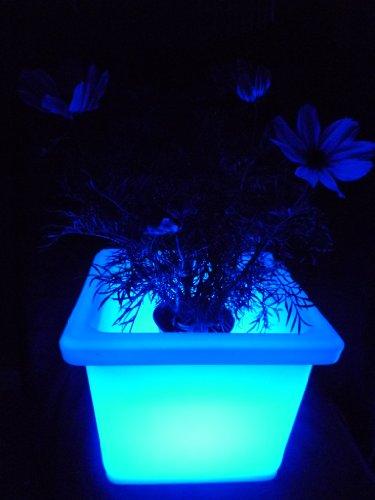 f Blumenkübel eckig 35x35x27 cm multicolor RGB mit Farbwechsel und Fernbedienung aufladbar wasserfest Innen Außen IP65 Gartentopf Sektkühler Vase Deko (Preiswerte Vasen)