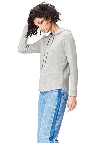 FIND Hoodie Damen mit ausgerolltem Saum und Rippenbündchen Grau (Grey), 38 (Herstellergröße: Medium)