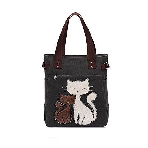 VRIKOO Women's Canvas Cartoon Cat Handbag Tote Mummy Bag Lightweight Shoulder Shopping Bags Nero
