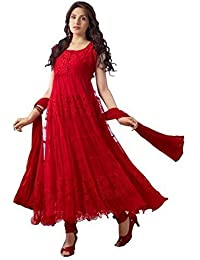 Woman Style Women's Braso Net Red Anarkali Dress Material (Red)