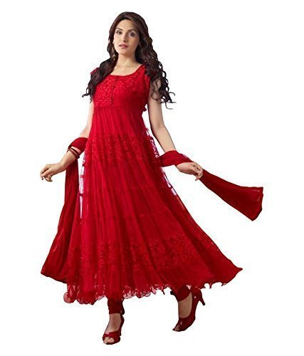 Vastra Fashion Women's Georgette Salwar Suit Set (Vf01 White Khantil_White_Free Size)