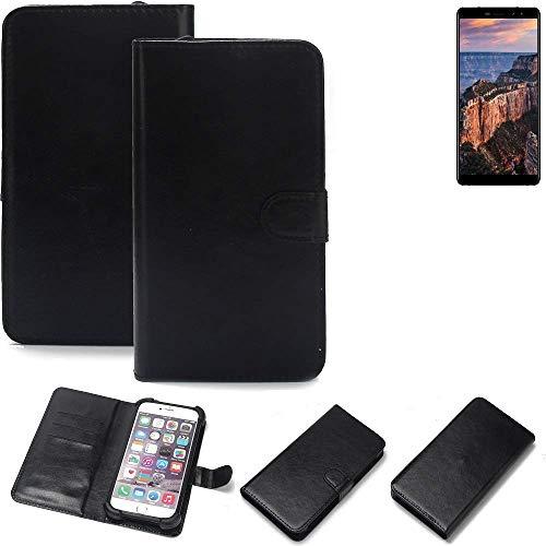 K-S-Trade 360° Wallet Case Handyhülle für M-Horse Pure 1 Schutz Hülle Smartphone Flip Cover Flipstyle Tasche Schutzhülle Flipcover Slim Bumper schwarz, 1x