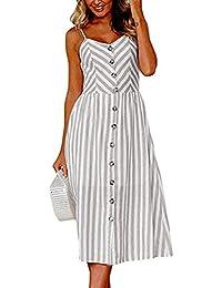 8bcc59e0dfaf7 Toamen Women's Summer Dress - Off Shoulder - Stripe Buttons - Sexy Fashion  Sleeveless