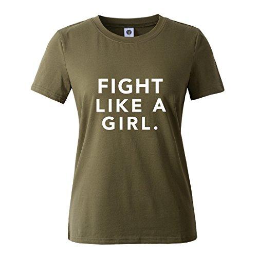BLACKMYTH Mujer Casual Camisetas para Estampar Redondo Graphic Tees Manga  Corta Señoras T-Shirt Ejercito 3313a6b6081