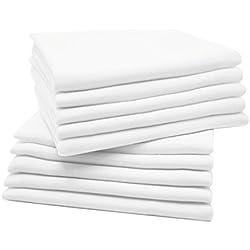 Zollner 10 muselinas para bebé, algodón 100%, 80x80 cm, blancas, perfectas para la higiene del bebé, serie Kiel