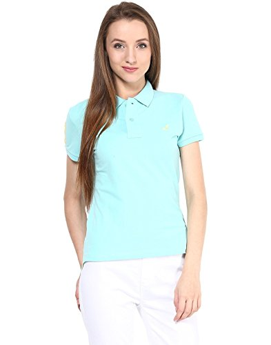 American Crew Women's Polo Collar Solid With Applique T-shirt (sky Blue)
