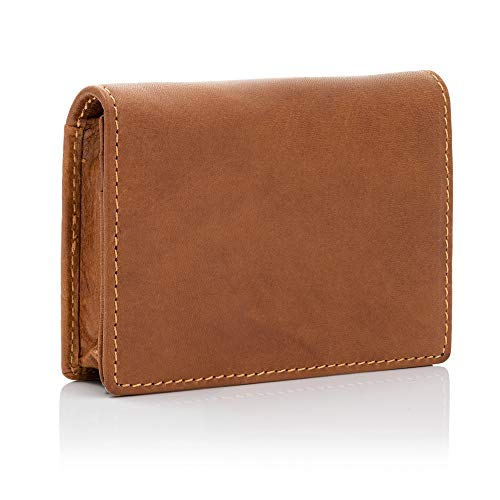 bluzelle Echt Leder Visitenkarten-Etui mit RFID Blocker - Viel Stauraum, Kredit-Kartenhalter, Portemonnaie, Ausweismappe, Smart Wallet, Farbe:Braun