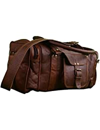 64c1d588931c Anshika International - Vintage Handcrafted Square Rectangle Leather Duffle  Bag - Overnight Travel Bag -
