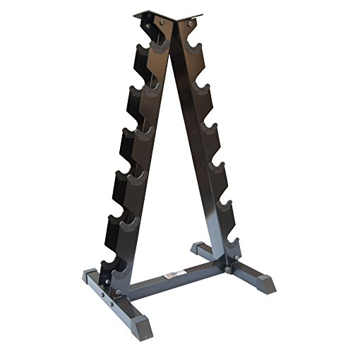 DKN Unisex 6 Frame Dumbbell Rack, Black, 6 Pairs