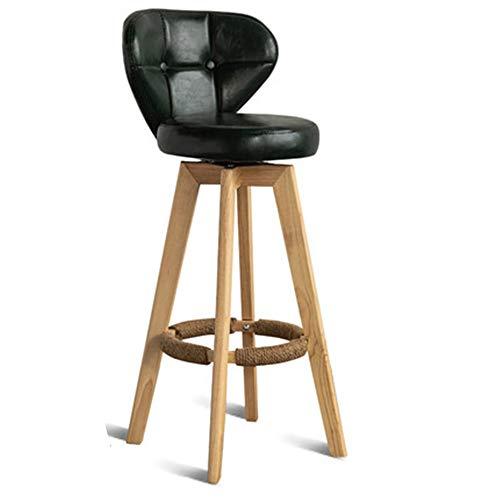 Barhocker für Küche und Haushalt Holz Moderne Casual Bar Stuhl for Frühstück Restaurant Cafe Abendessen Ölwachs Bar Stuhl Holz Rückenlehne Einfache Stuhl Wohnzimmer Dekoration Küche Insel Hocker Justi (Insel-stühle Küche)