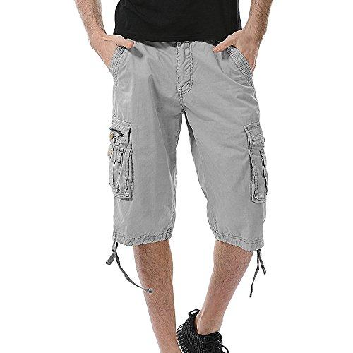Seide-leinen-hose (GreatestPAK Pants Pure Color Shorts Herren Outdoor Taschen Strand Arbeit Hosen Cargo Pant (40(XXL), Grau 2))