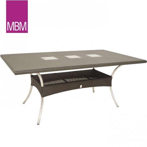 MBM Gartentisch Granit 180x100x73,5cm Mirotex Aluminium Mocca Stone Tisch