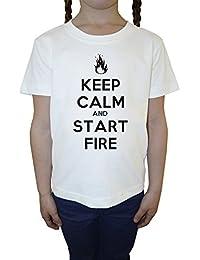 Keep Calm And Start Fire Blanco Algodón Niña Niños Camiseta Manga Corta Cuello Redondo Mangas White Girls Kids T-shirt
