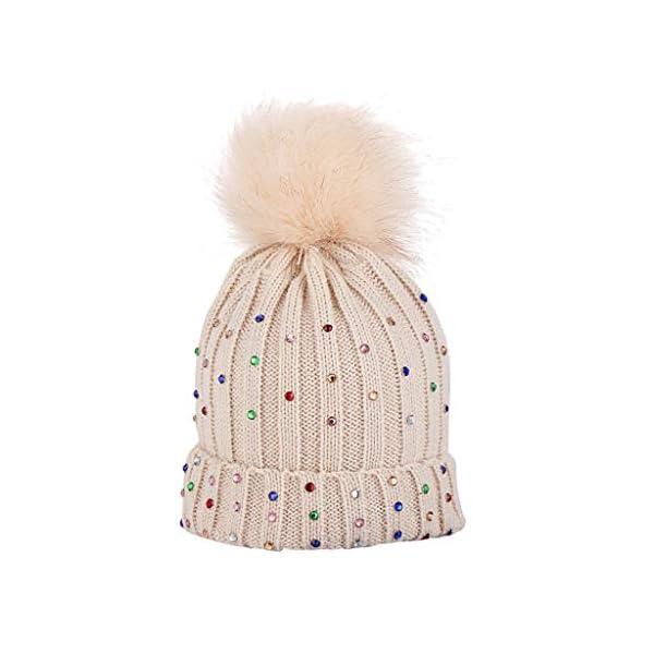 Baohooya Invierno Bebe Gorros para 1-6 Años - Gorro de Lana de Diamante con Bola de Pelo Otoño Invierno Calentar… 3