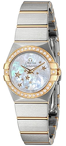 OMEGA Women's Constellation 24mm Two Tone Steel Bracelet & Case Quartz MOP Dial Watch 123.25.24.60.05.001