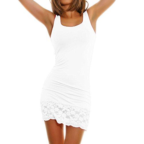 Toocool - Top miniabito donna vestitino jersey fondo pizzo floreale abito canotta AS-0083 Bianco