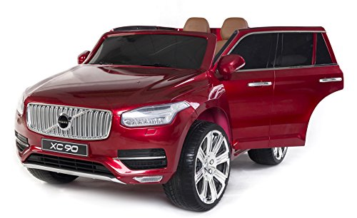 RIRICAR Volvo XC90 Voiture-Jouet électrique pour Enfant, Rouge Peinture, 2.4Ghz contrôle á Distance, Deux Moteurs, Deux sièges en Cuir, Roues EVA Douces, Licence Originale