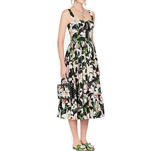 QUNLIANYI Bendkleid Tüll Lang Floral Print Strap Kleid Sexy Drawstring Strapless Lilien Blume Baumwolle Frauen Strand Boho Sonnenkleider XL -
