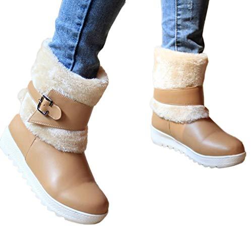TianWlio Frauen Herbst Winter Stiefel Schuhe Stiefeletten Boots Warme Schuhe Beiläufig Keile Boots Seitlicher Reißverschluss Schneestiefel Damen Short Boot Braun 40