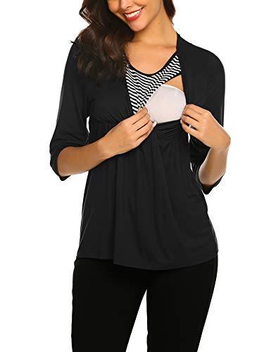 MAXMODA Umstandsmode Damen Stillpyjama 3/4 Ärmel Casual Top Stillshirt Rundhalsausschnitt Mama Schwangerschaft Kleidung mit Stillfunktion