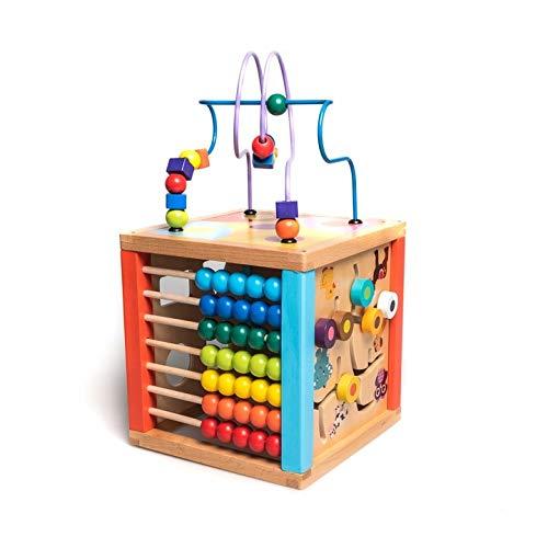 HH Lernspielzeug aus Holz für Babys ab 1 Jahr   Spielzeug 5 in 1   Motorikwürfel mit Uhr, Formerkennung, Abakus, Labyrinth und Motorikschleife   Lernwürfel Steckspiel für Kinder
