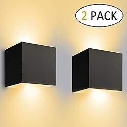 12W Applique Murale Interieur/Exterieur,Lampe Murale LED Etanche IP65 Réglable Lampe Up Down Design 3000K Blanc Chaud Appliques Murales pour Salon Chambre Chemin Lot de 2(Noir)