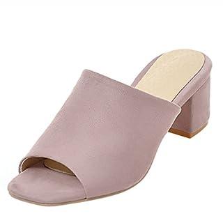 Artfaerie Damen Open Toe Slingback Sandalen Slipper mit Blockabsatz Bequem Pantoletten Nubuk Mules Offene Loafers Schuhe