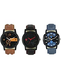 SPINOZA Men And Women Attractive Combo Blue Brown And Black Professional Watch For Boys And Girls