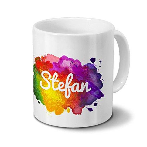 Tasse mit Namen Stefan - Motiv Color Paint - Namenstasse, Kaffeebecher, Mug, Becher, Kaffeetasse -...