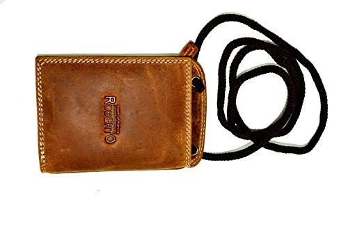 Echt Leder Brustbeutel von Portemonnaie in Dunkelbraun RFID Safe (braun) (Rv-brustbeutel)