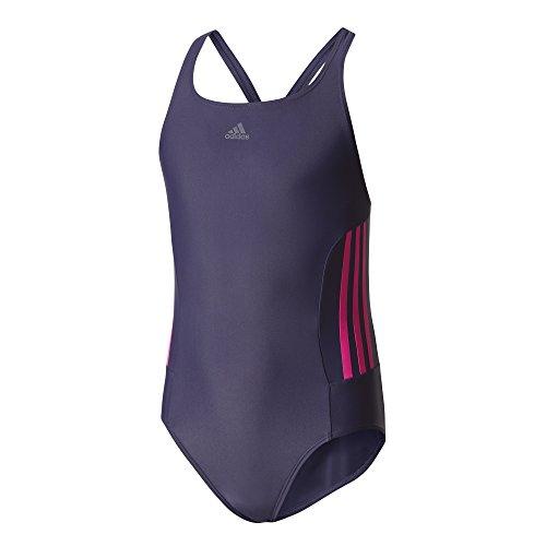 Mädchen Badeanzug (adidas Mädchen Infinitex 3-Streifen Badeanzug, Noble Ink/Shock Pink, 152)
