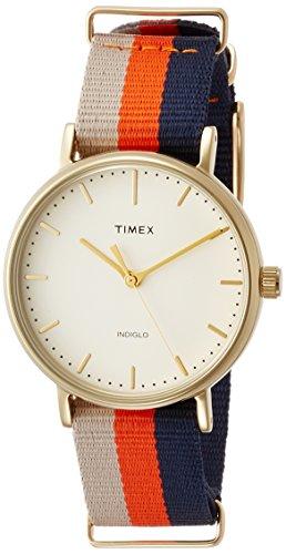Timex Women's TW2P91600 Fairfield 37 Beige/Orange/Blue Stripe Nylon Slip-Thru Strap Watch (Womens Gold Watch Timex)
