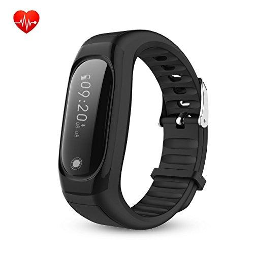 Herzfrequenz Smart Band Fitness Armband Tracker Smartwatch Bluetooth 4.0 IP67 Wasserdicht mit Schrittzähler Schritt Tracker Schlaf-Monitor Kalorienzähler Schrittzähler Uhr SMS Anrufe Reminder für Android IOS Smartphone