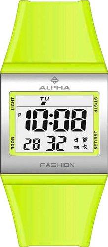 Alpha Saphir 247F - Reloj digital de mujer de cuarzo con correa de plástico verde (alarma) - sumergible a 100 metros