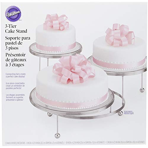 Wilton Cake Display Stand, Cakes 'N More, 3 Tier, Chrome, from 10cm (4in) to 19.6cm (7.75in)