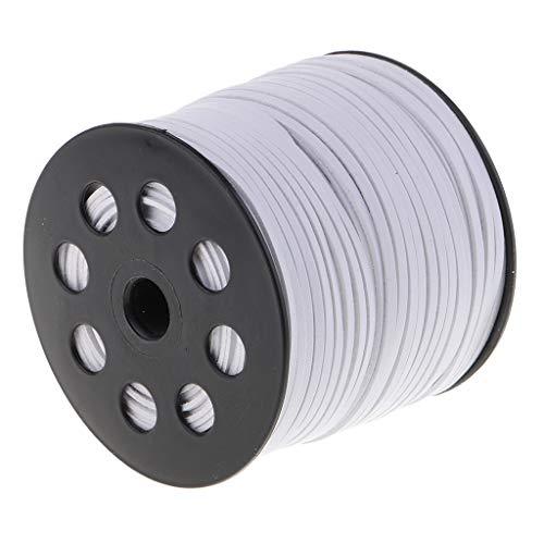 Faux-leder-mikrofaser-polsterung (IPOTCH 100 Yard 2,6mm Breite Lederband Samtbandrolle Schmuckband für Handwerk - Weiß)