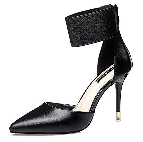 Aisun Damen Modern Kunstleder Spitz Zehen Elastisch Knöchelriemchen Sandale Mit Reißverschluss Schwarz