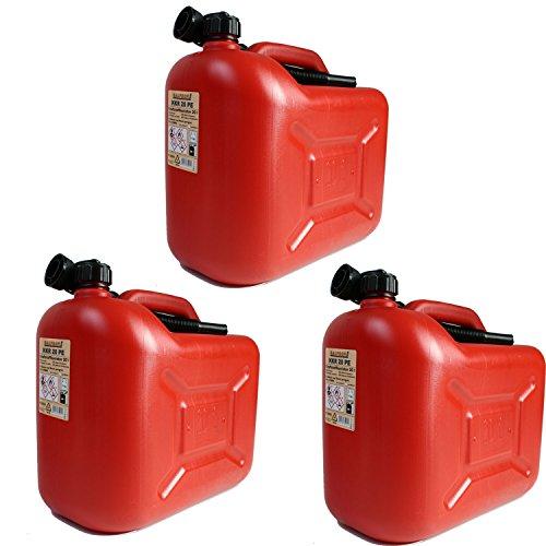 3er Set: 3x Benzinkanister 20 Liter rot KKR 20 PE Reservekanister
