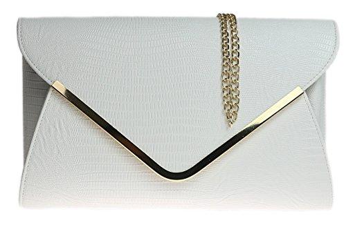 H&G Damen Animal Print Croc flachen Umschlag Clutch Abendtasche - weiß (White Clutch Leather Patent)