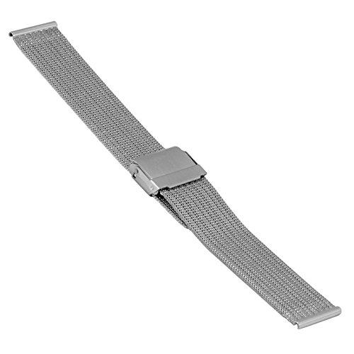 Uhrenarmband, Edelstahl, Milanaise, Mesh, verschd. Größen und Farben (18 mm, Silber)