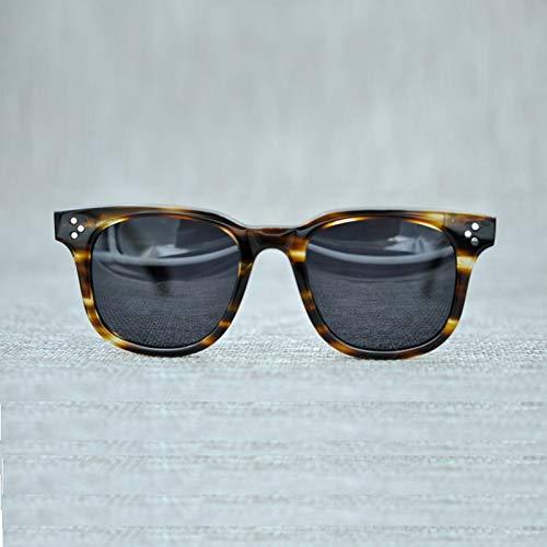 LKVNHP New Square Hochwertige Marke Polarisierte Sonnenbrille Afton Designer Vintage Sonnenbrille Männer Mode Sonnenbrille Streifen Braun VsGrau