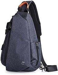 OBOC Sac de Poitrine Homme USB Anti-vol Sac Bandouliere Casual épaule Triangle Packs Sacs