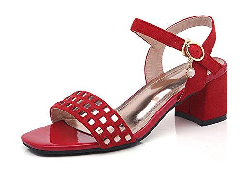 Été rude avec les sandales boucle en suède mot sont confortables avec des sandales à bout ouvert femelle sauvage Red