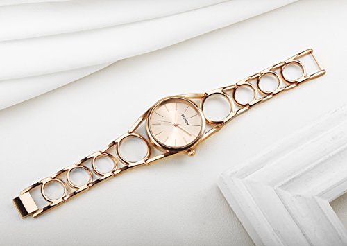 ETEVON Frauen Quarz Rose Gold Armbanduhr mit Runden Hohlen Armband Rostfreier Stahl Wasserdicht, Mode Luxus Verkleiden Armbanduhren für Damen - 6