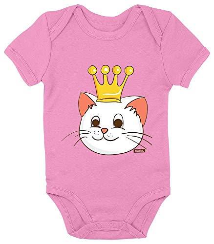 Prinzessin Kinder Kostüm Bubblegum - HARIZ Baby Body Kurzarm Katze Prinzessin Mit Krone Süß Tiere Dschungel Inkl. Geschenk Karte Bubblegum Pink 12-18 Monate