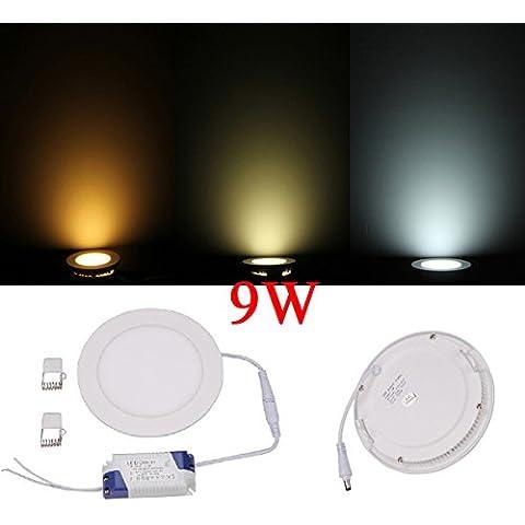Panel de luz 9W Ronda regulable ultrafino de techo ahorro de energía LED.