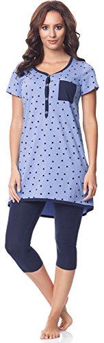 Be Mammy Damen Kurzarm Pyjama mit Stillfunktion BE20-177, Blau-Punkten-Marine, XL