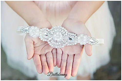 FASCIA ELASTICA LUXURY CHIC PER CAPELLI CON CRISTALLI E PERLE per comunioni, matrimoni, compleanni, feste, party, battesimi, eventi, wedding (Headband, Hairband Rhinestone Crystal Pearl)